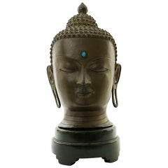 Important Signed Bronze Head of Buddha with Turquoise