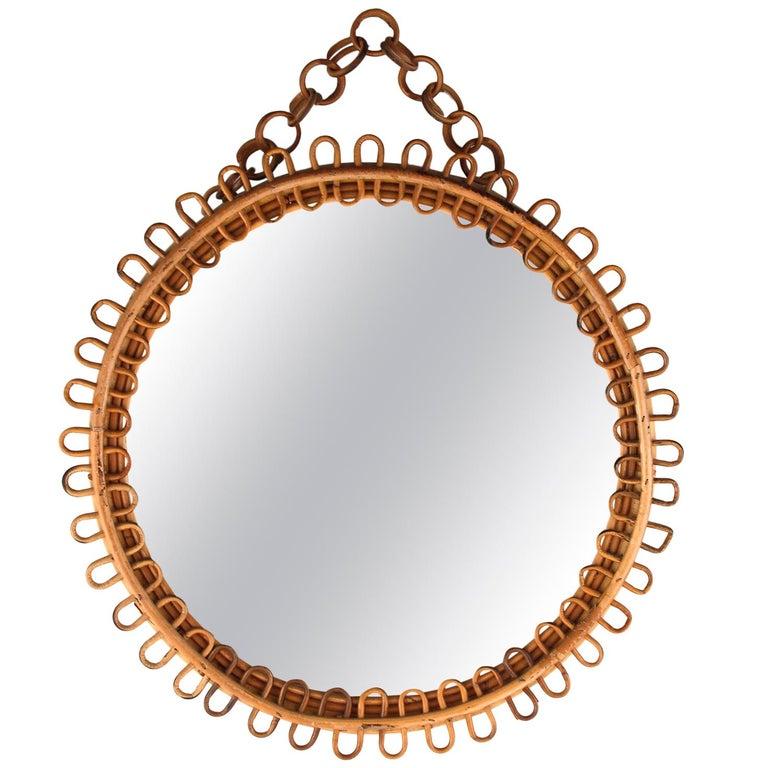 Italian Riviera Rattan Wicker Bamboo Mirror, Italy, 1960s