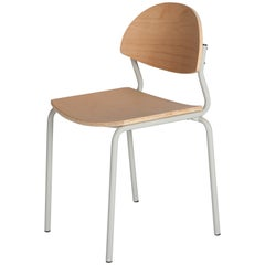 Chips Dining Chair, Grey Steel Tube Frame / Beech Timber Seat