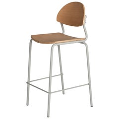 Chips Bar Chair, Grey Steel Tube Frame or Beech Timber Seat