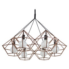 Rough Diamond Chandelier, Modern, Copper Tube, Geometric, Pendant Light