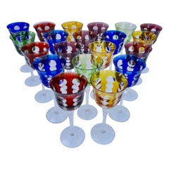 Set of 20 Christofle Crystal Kawali Stemmed Wine Glasses in 5 Various Colors