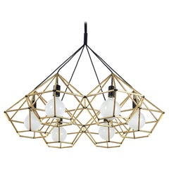 Rough Diamond Chandelier, Modern, Brass Tube, Geometric, Pendant Light
