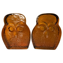 Pair of Amber Blenko Glass Owl Bookends