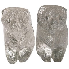Pair of Blenko Glass Bear Bookends