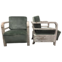Pair of French Limed Oak Lounge Chairs in Style of Pierre Jeanneret