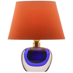 Murano Globe-Shaped Lamp Cobalt Blue with a Dramatic Jewel-Like Effect