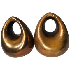 Ben Seibel Copper Finish Orb Bookends by JenFred