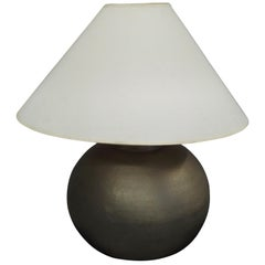 Pair of French Mid-Century Modern Hand-Hammered and Matte Nickel Table Lamps