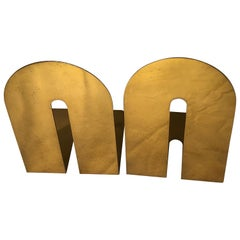 Pair of Midcentury Brass Walter Von Nessen Style Bookends
