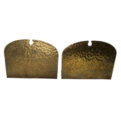 Pair of Hammered Brass Arts and Crafts Bookends by Frost