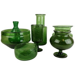 Collection of Seven Green Vases by Erik Hoglund
