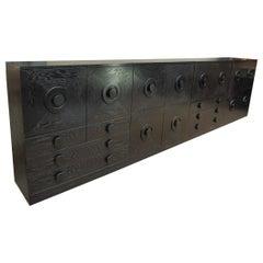 1 to 4 Brutalist Black Ebonized Oak Cabinets and Bar, 1970s
