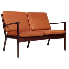 Ole Wanscher Two-Seat Sofa in Cognac Aniline Leather, Model PJ112, Mahogany