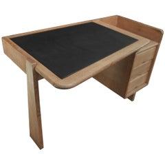 """Oak Leather Etudiant Desk by Guillerme & Chambron for """"Votre Maison"""", 1960s"""