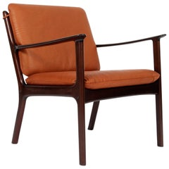 Ole Wanscher Lounge Chair, Model PJ112, Cognac Aniline Leather, Mahogany