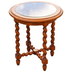 Side Table with Barley Twist Legs and Cane Top, Late 20th Century