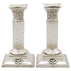 Victorian Sterling Silver and Glass Candlesticks