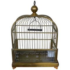 Brass Bird Cage with Etched Glass