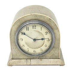 Original French Art Deco Table Clock in Shagreen, 1930s