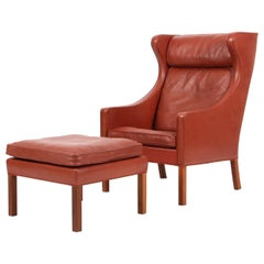 Børge Mogensen Wingback Chair and Ottoman, Model 2202 / 2204, Original Leather