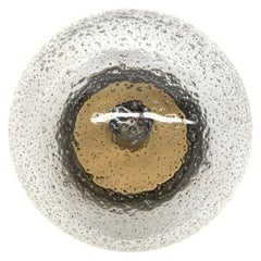 Petite Bronzed Metal Air Bubble Glass Hillebrand Flush Mount Midcentury, 1960s