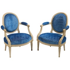 Suite of Louis XVI Painted Seat Furniture Comprising a Canapé & Two Fauteuils