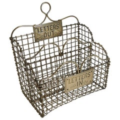 Victorian English Brass Mesh Letters Box or Caddy, circa 1880