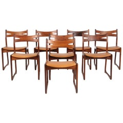 Danish Cabinetmaker, Set of Eight Rosewood Dining Chairs Silk Aniline Leather