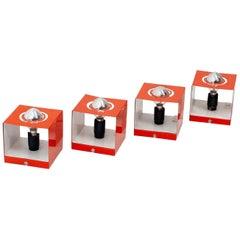 4 Philips Cube Lights in Orange, 1970s