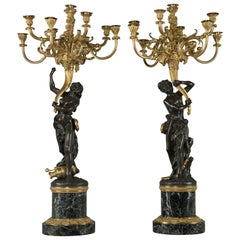 'Les Grands Faunes', a Pair of Candelabra after François Rémond, circa 1880