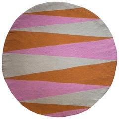 Geometric Phoenix Hand Embroidered Modern Round Rug, Carpet