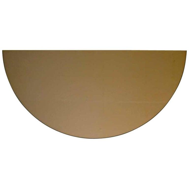 Modern Bronze Tinted Mirror Orbis Half Circular Small Wall Mirror Frameless For Sale