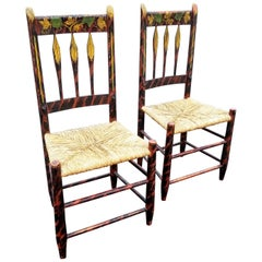 Rare Pair of American Folk Art Decorated Thumb Back Chairs
