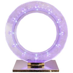 Blue Baccarat Clock with Crystal Baccarat Sanded with Led Diodes Inside