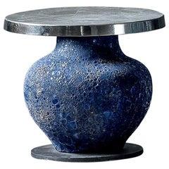 Blue Ceramic Side Table