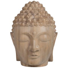 Buddha Head Sculpture in Solid Oak
