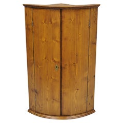 Antique Pinewood Wall Hanging Corner Cabinet Cupboard with Blue Painted Interior