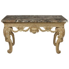 George II White and Gold Carved Console Table Attributed to Benjamin Goodison