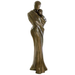 Woman and Child Life-Size Sculpture in Solid Vintage Brass
