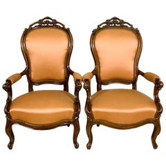 Pair of Neo-Rococo Mahogany Armchairs from the Second Half of the 19th Century