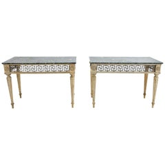 Pair of Bleached Oak Consoles