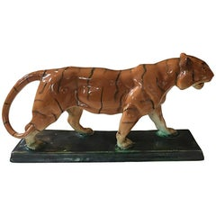 Amazing Ceramic French Tiger Sculpture, 1940