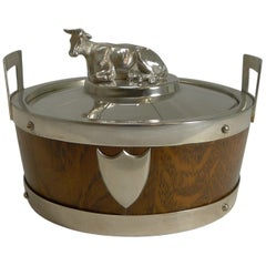 Antique English Oak and Silver Plate Butter Dish, circa 1890 - Cow