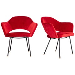 1950s Pair of Red Velvet Iron Armchairs by Carlo Hauner, Brazil