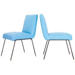 1950s Pair of Chairs in Wrought Iron and Blue Linen by Abraham Palatnik, Brazil