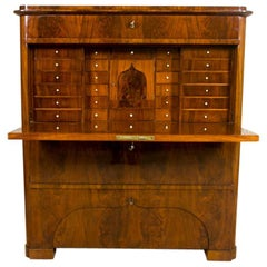19th Century Biedermeier Secretary Desk Veneered with Mahogany