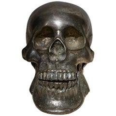 Silvered Bronze Sculpture Skull, Sicily, 18th Century