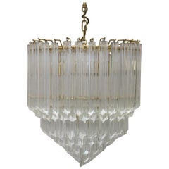 20th Century Italian Quadriedri Prism Chandelier in Bronze and Crystal By Venini