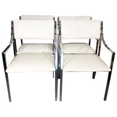 Italian Chrome and Leather Armchairs